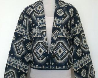 Vintage Womens Flashback Native Aztec Navajo SouthWestern Pattern Retro Boho Blanket Jacket / Size L