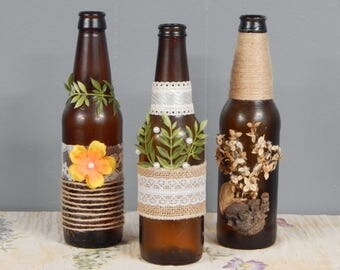 Rustic Upcycled Beer Bottles (Set of 3) for Wedding Centerpieces or Home Decor (WEDDING COLLECTION)