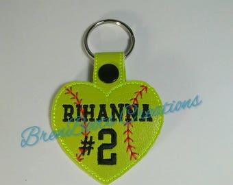 Personalized Heart Baseball/Softball Key FOB