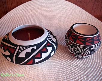 2-Artist Signed ACOMA PUEBLO Native American Pottery Bowl & Candle