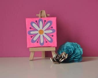 mini canvas,mandala art,daisy,flower painting,pop art,bright,colourful,nursery decor,girls room decor,gift for her,pink painting