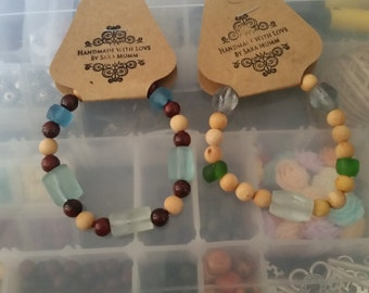 Sea glass and wood bead elastic bracelets
