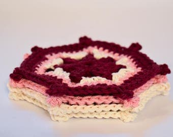 Mom's Favourite Coasters - Set of 4 Crochet Coasters - Pretty Coasters - Colorful Coasters - Pink Coasters - Gifts for Her - Pretty Placemat
