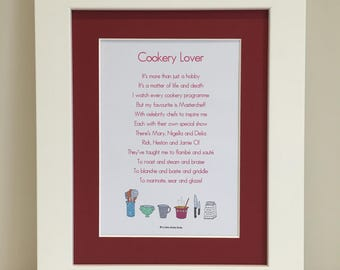 Cookery Lover Print, Cookery Lover Poem, Cookery Gift, Kitchen Gift, Gift for Her, Kitchen Wall Art