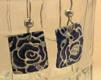 Navy blue rectangle shaped embossed aluminum earrings