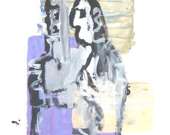 Purple Figurative Monoprint | Original Artwork | Abstract Monotypes | Annabel Wyatt Art | 58 X 42 cm