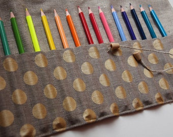 Eco 100% flax linen hipster roll up pencil case, great for decorative brushes, artist supplies, makeup case, linen organizer, cosmetics