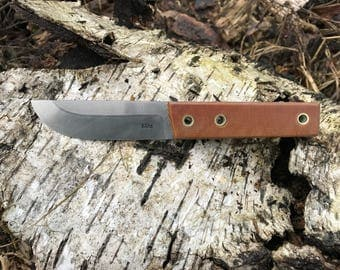 Workhorse blade made from old file high carbon steel asymetrical texas grind, pertinax (textit) handle