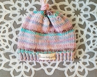 Sweet newborn baby girl knitting hat cap