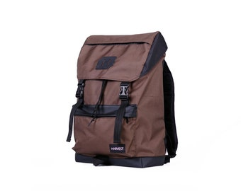 Waxed Canvas Backpack,Vintage Rucksack,Brown Backpack,Men's Backpack,Vegan Leather Backpack,Waterproof Backpack,Backpacks for Men