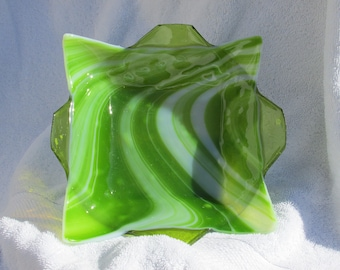 Medium fused glass dish in spring green.