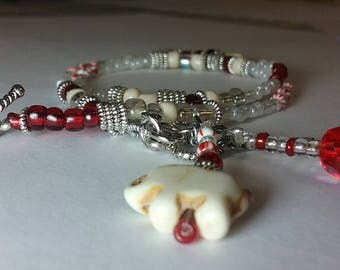 Elephant bead bracelet, boho beaded bracelet, beaded bracelet, charm bracelet, red bracelet, wrap bracelet, seed bead bracelet, bracelet