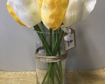 Yellow and White Tulip Flower Arrangement