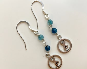 Silver sterling Tree Pose Yoga Earrings with Agate beads