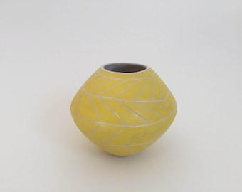 Yellow Chevron - Hand Carved Vase