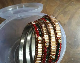 4 piece bangle set to match your red and green attire.