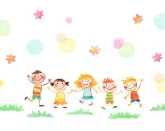 Watercolour Children Clip Art Graphic Design PNG High Resolution C02