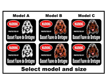 2x protected by Basset Fauve de Bretagne dog breed vinyl decals stickers car window bumper