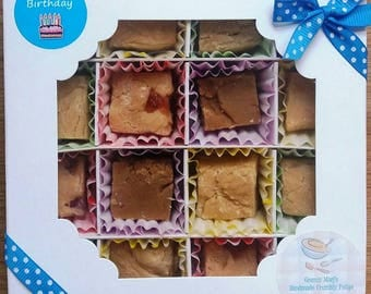 Handmade Crumbly Fudge - Traditional Recipe - Made to Order - Happy Birthday Gift Box (His)