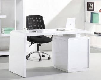 Courbe 1.4m White High Gloss Desk For Home Office