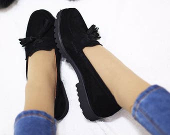 Slip ons Oxford Shoes  Leather Shoes for Women Flat Shoes Casual Shoes Womens loafers