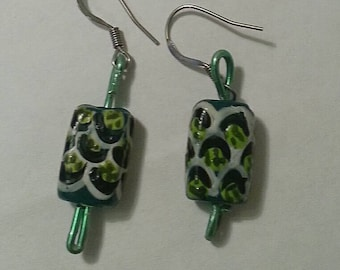 Green and White Leopard Print Earrings