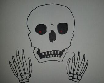 Whoa Whoa Whoa Skull ink drawing