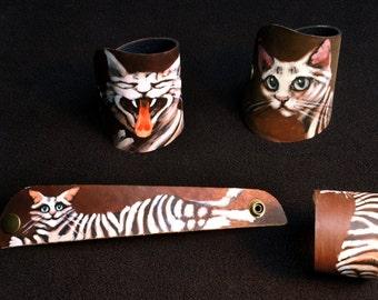 Handpainted leather bracelet cat