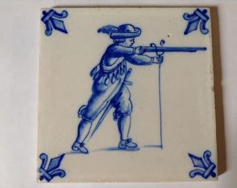 "Delft Blue and White Tile ""The Hunter"""