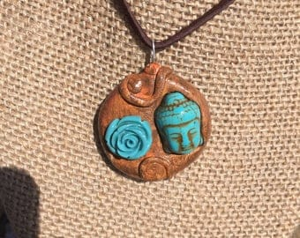 Rose/ buddha necklace