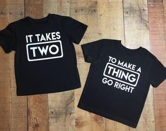 Twin set, Sibling set, Twin shirts, Sibling shirts, Twins, Toddler shirt, It takes 2, Twin t-shirt, Sibling t-shirt