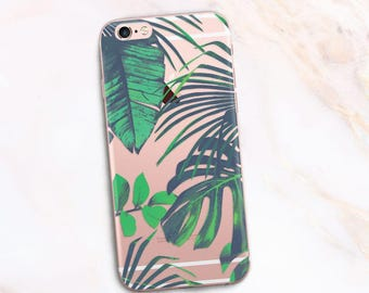 Tropical iPhone Case Palm Leaves iPhone 7 Case Palm Leaf Transparent iPhone 6 Case Tropical leaves iPhone 8 plus Summer Case for iphone x 10