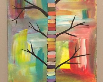 Tall Tree Acrylic Painting