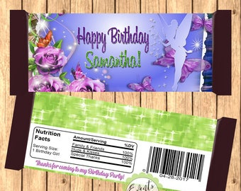 Tinker Bell Inspired Candy Bar Wrapper, Tinker Bell Inspired Wrapper,  Tinker Bell Inspired Favor,- DIGITAL FILE ONLY