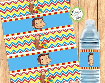 Curious George Inspired Water Bottle Label, Curious George Favors, DIGITAL FILE ONLY