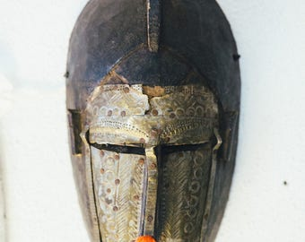 Antique Brass and Wood Mask from Mali (Malinki Tribe)