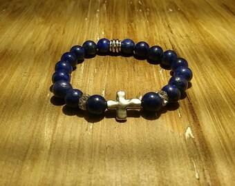 Ladies Lapis Lazuli Cross Bracelet