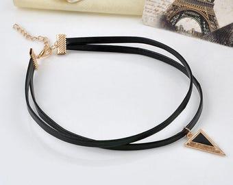 Retro Gothic Black Cord Choker Necklace