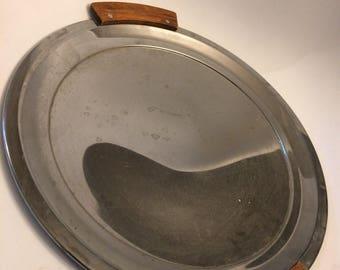 Vintage Kromex chrome round serving platter with MCM wood handles