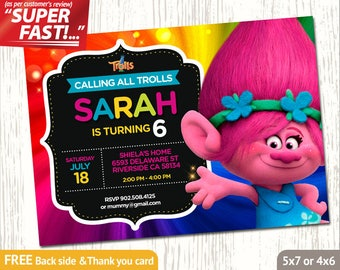 TROLLS POPPY INVITATION, Trolls Birthday Invitation Girl, Trolls Invitation, Trolls Party Invite, Trolls Thank You Card, Poppy Invite, v5g