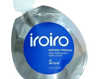 Iroiro Premium Natural Semi-Permanent Hair Color Dye Iro 40 Blue 4 oz