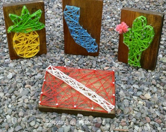 Mini Cactus,Pineapple,Dive Flag or California string art woodblock. You choose mantle decor home decor desert succulents
