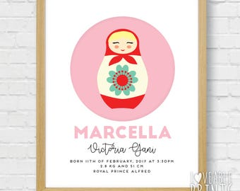 Framed Baby Announcement Sign | Custom Baby gift | Baby Room Wall Art | Babushka | Russian Doll | Girls Room decor