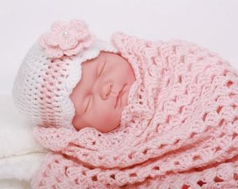 Crochet Baby Blanket / Afghan and Hat Pink White Christening Baptism Granny Square Blanket, Baby Girl Set Shower Gift Handmade by Hallien