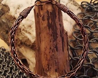 Bracelet viking en cuivre épais tressé - Thick copper viking knit bracelet