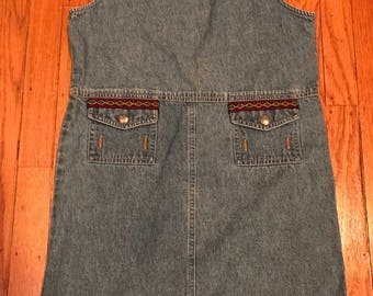 Girls denim overall dress with Peruvian trim