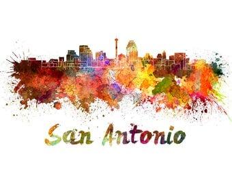 San Antonio Skyline Watercolor, San Antonio Art Print, San Antonio Skyline, San Antonio Wall Art, San Antonio print, SAn Antonio watercolor