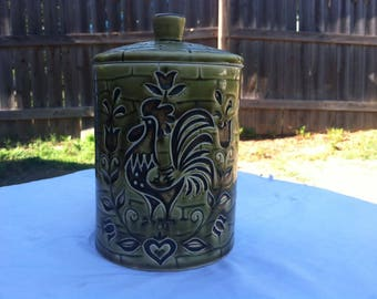 Vintage Rooster Green Canister Jar by Royal Sealy Japan