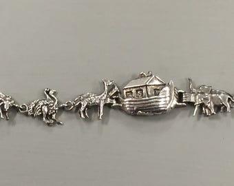 Vintage Noah's Ark  Charm Bracelet Sterling Silver