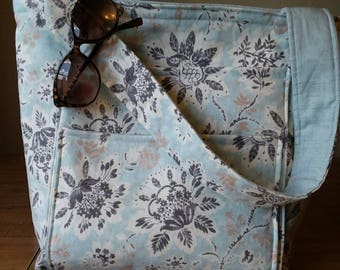 Large Beach Tote Light Blue Floral